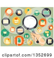 Poster, Art Print Of Hand Holding A Magnifying Glass Surrounded By Retail Icons On Green
