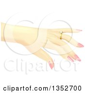 Clipart Of A Caucasian Womans Hand Showing Off A Diamond Ring Royalty Free Vector Illustration