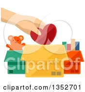 Clipart Of A Hand Putting A Heart Into A Toy Donation Box Royalty Free Vector Illustration