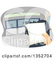 Clipart Of A Hand Holding A Document Over A Line Of People Royalty Free Vector Illustration