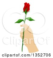 Clipart Of A Hand Holding A Long Stemmed Red Rose Royalty Free Vector Illustration