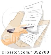 Clipart Of A Hand Signing A Contract Or Letter Royalty Free Vector Illustration