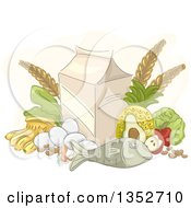 Clipart Of A Sketched Still Life Of Fish Produce Eggs And A Carton Royalty Free Vector Illustration by BNP Design Studio