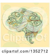 Clipart Of A Sketched Human Brain In Whimsical Swirl Style Royalty Free Vector Illustration