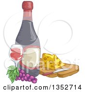 Sketched Wine Bottle Grapes Glass And Cheese