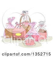 Clipart Of A Sketched Still Life Of Pink Gift Baskets Royalty Free Vector Illustration