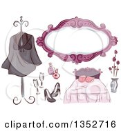 Clipart Of Black Pink And Purple Bedroom Chic Items Royalty Free Vector Illustration