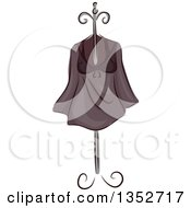 Clipart Of A Sketched Shirt On A Stand Royalty Free Vector Illustration