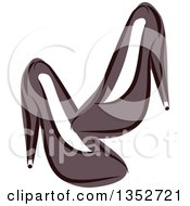 Clipart Of Sketched Black High Heels Royalty Free Vector Illustration by BNP Design Studio