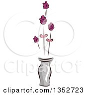 Clipart Of A Skeched Vase Of Flowers Royalty Free Vector Illustration