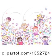 Doodled Group Of Children Playing In A Ball Pit