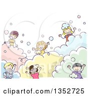 Clipart Of A Doodled Group Of Children Playing In Bubbles Royalty Free Vector Illustration