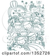 Clipart Of A Background Of Doodled Kids And Whimsical Items Royalty Free Vector Illustration