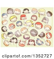 Clipart Of Doodled Kid Faces Over Green Royalty Free Vector Illustration