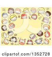 Clipart Of A Doodled Border Of Kid Faces Over Yellow Royalty Free Vector Illustration
