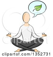 Clipart Of A Sketched Yoga Practicioner On The Lotus Pose Talking About A Leaf Royalty Free Vector Illustration