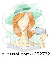 Clipart Of A Sketched Red Haired Caucasian Woman Wearing A Sun Hat And Holding A Camera Royalty Free Vector Illustration