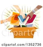 Clipart Of Hands Putting Books Into A Box Royalty Free Vector Illustration by BNP Design Studio