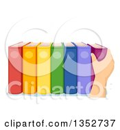 Clipart Of A Caucasian Hand Reaching For A Book Royalty Free Vector Illustration