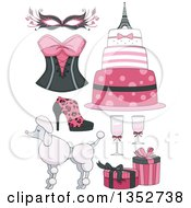 Clipart Of Pink Parisian Feminine Items Royalty Free Vector Illustration by BNP Design Studio