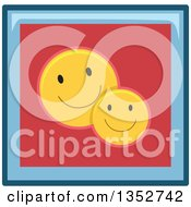 Clipart Of A Blue And Red Happy Face Smiley Button Icon Royalty Free Vector Illustration