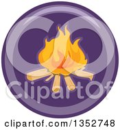 Clipart Of A Round Purple Camp Fire Icon Royalty Free Vector Illustration