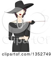 Fashionable Woman In A Vintage Style Hat And Dress Smoking A Cigarette With A Long Filter