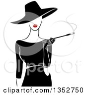 Retro Stylish Lady Wearing A Hat And Black Dress Smoking A Cigarette With A Long Filter