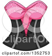 Clipart Of A Pink And Black Corset Royalty Free Vector Illustration