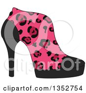 Clipart Of A Pink Leopard Print High Heel Shoe Royalty Free Vector Illustration by BNP Design Studio