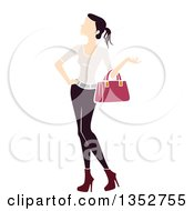Clipart Of A Brunette White Woman Carrying A Handbag Royalty Free Vector Illustration