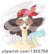 Clipart Of A Sketched Brunette Caucasian Woman Wearing A Bandana And Big Glasses Holding A Clutch Royalty Free Vector Illustration
