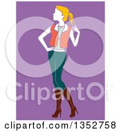 Clipart Of A Stylish Blond Woman Posing Over Purple Royalty Free Vector Illustration