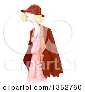 Water Color Styled Blond Woman In Vintage Apparel