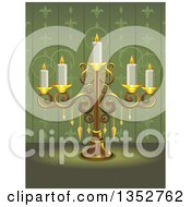 Clipart Of A Gold Ornate Candelabra With Candles Over Green Wallpaper Royalty Free Vector Illustration