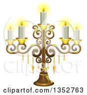 Clipart Of A Gold Candelabra With Candles Royalty Free Vector Illustration