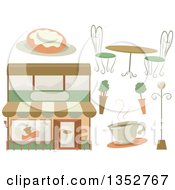 Clipart Of A Cafe Building Coffee Shrubs Table Roll And Lamp Royalty Free Vector Illustration