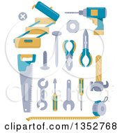 Clipart Of Blue And Yellow Tools Royalty Free Vector Illustration
