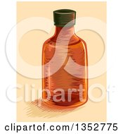 Clipart Of An Orange Empty Medicine Bottle Royalty Free Vector Illustration