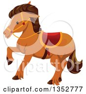 Clipart Of A Walking Brown Horse Royalty Free Vector Illustration
