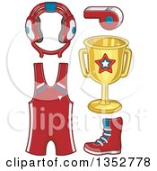 Clipart Of Wrestling Gear Royalty Free Vector Illustration