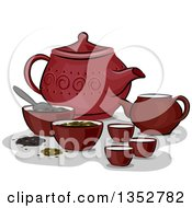 Clipart Of A Red Chinese Tea Set Royalty Free Vector Illustration by BNP Design Studio