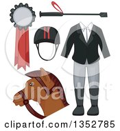 Clipart Of Equestrian Accessories Royalty Free Vector Illustration