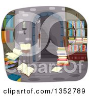 Clipart Of An Underground Alchemy Library Royalty Free Vector Illustration