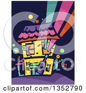 Clipart Of A Colorful Party House Royalty Free Vector Illustration by BNP Design Studio