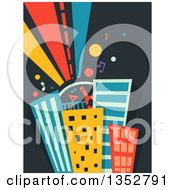Clipart Of A Roof Top Party On Skyscrapers Royalty Free Vector Illustration