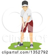 Clipart Of A Brunette Caucasian Man Golfing Royalty Free Vector Illustration by BNP Design Studio