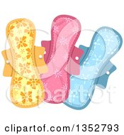 Clipart Of Patterned Sanitary Pads Royalty Free Vector Illustration