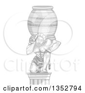 Clipart Of A Marble Statue Of A Man Carrying A Heavy Jar Royalty Free Vector Illustration
