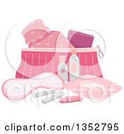 Clipart Of A Pink Beauty And Puberty Kit Royalty Free Vector Illustration